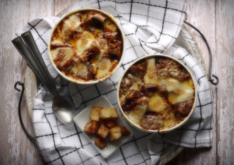 Vegetarian french onion soup with red wine croutons - Leaf + Grain ...