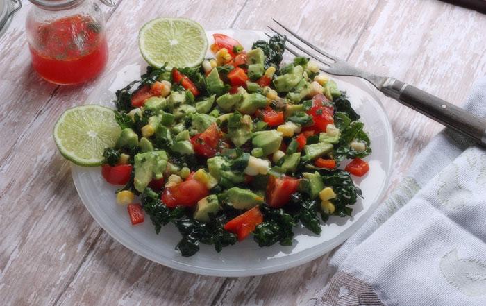 Winter guacamole salad with massaged kale - Leaf + Grain | Leaf ...
