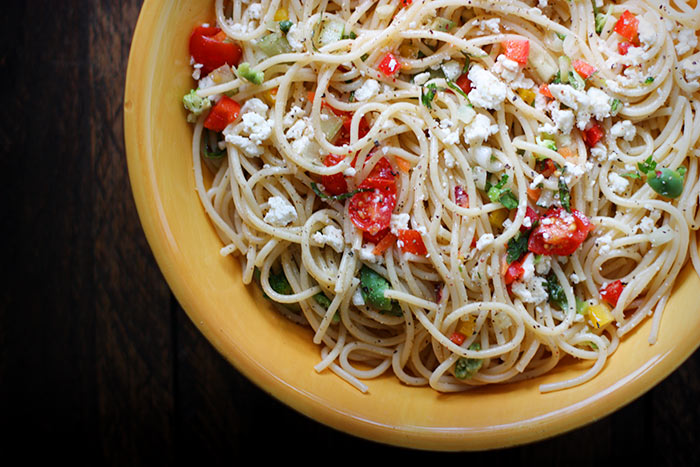 Chilled spaghetti salad from SoupAddict.com
